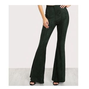 Pants - GREEN FLARE BOTTOM FAUX SUEDE TROUSER PANTS